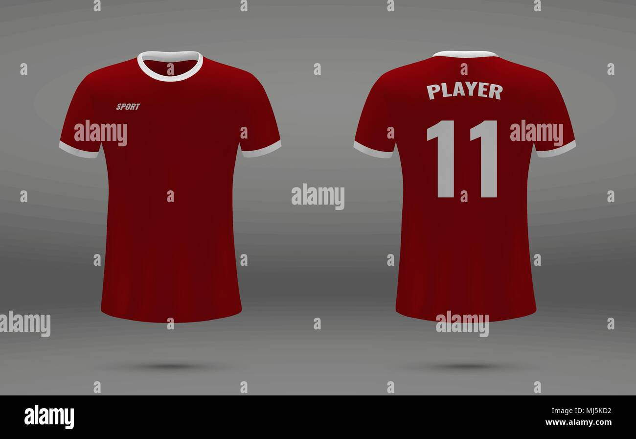 Realistic Soccer Jersey T Shirt Of Liverpool Uniform Template For Football