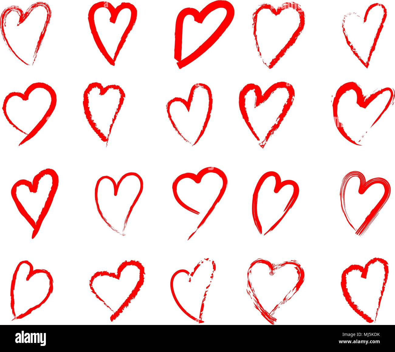 Set Of Hand Drawn Heart Isolated Vector Icon Sketch For Valentines