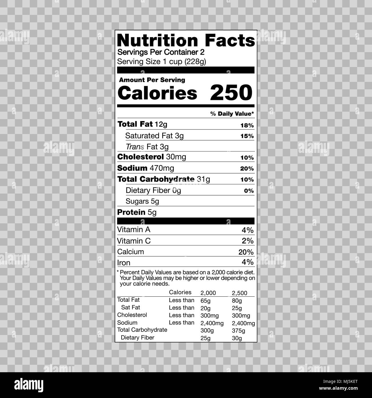 nutrition facts information template for food label stock vector art