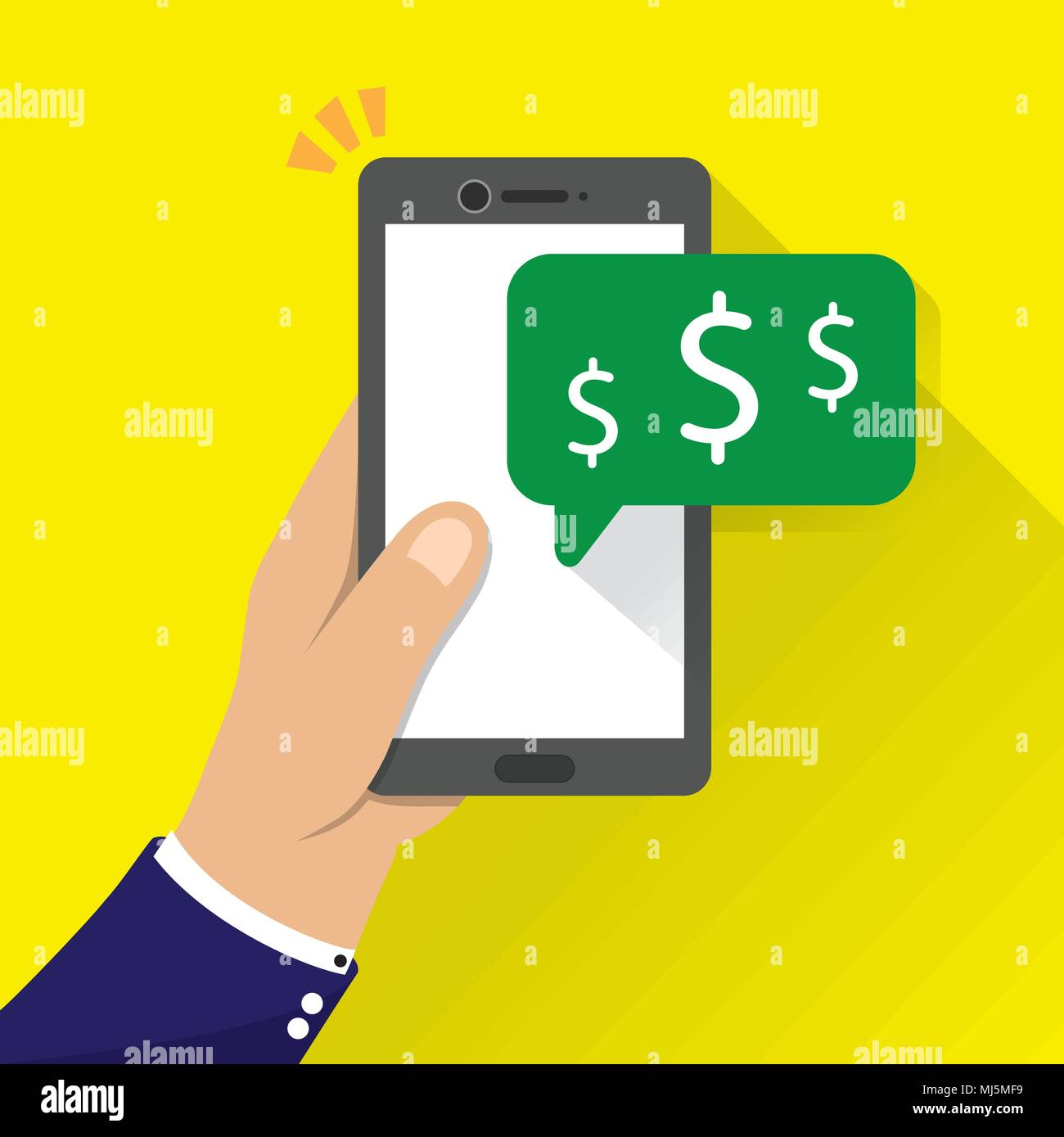 hand holding phone with money icon notification vector illustration. sending and receiving money with mobile phones. - Stock Vector
