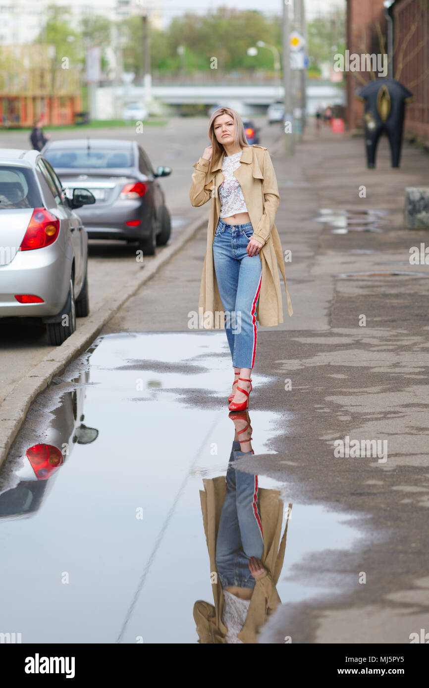825fa729e Wet Jeans Girl Stock Photos   Wet Jeans Girl Stock Images - Alamy