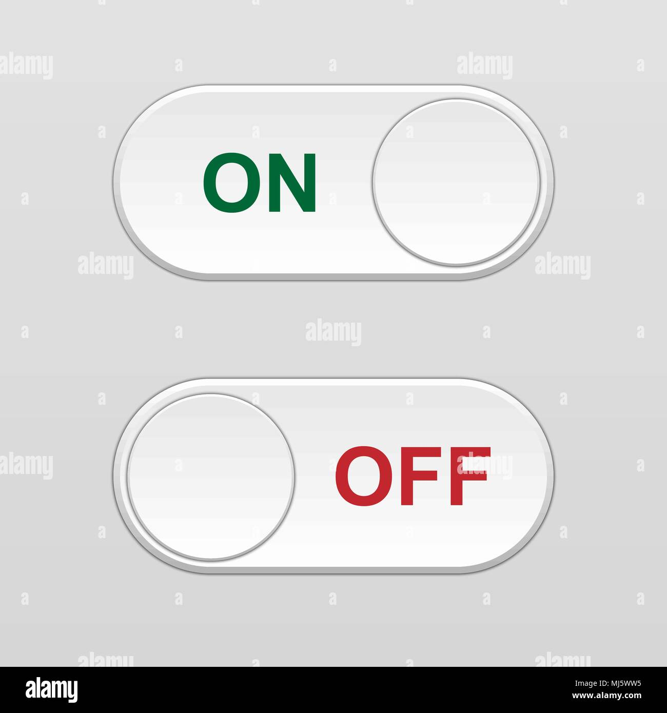 On and Off Toggle switch button Stock Vector Art