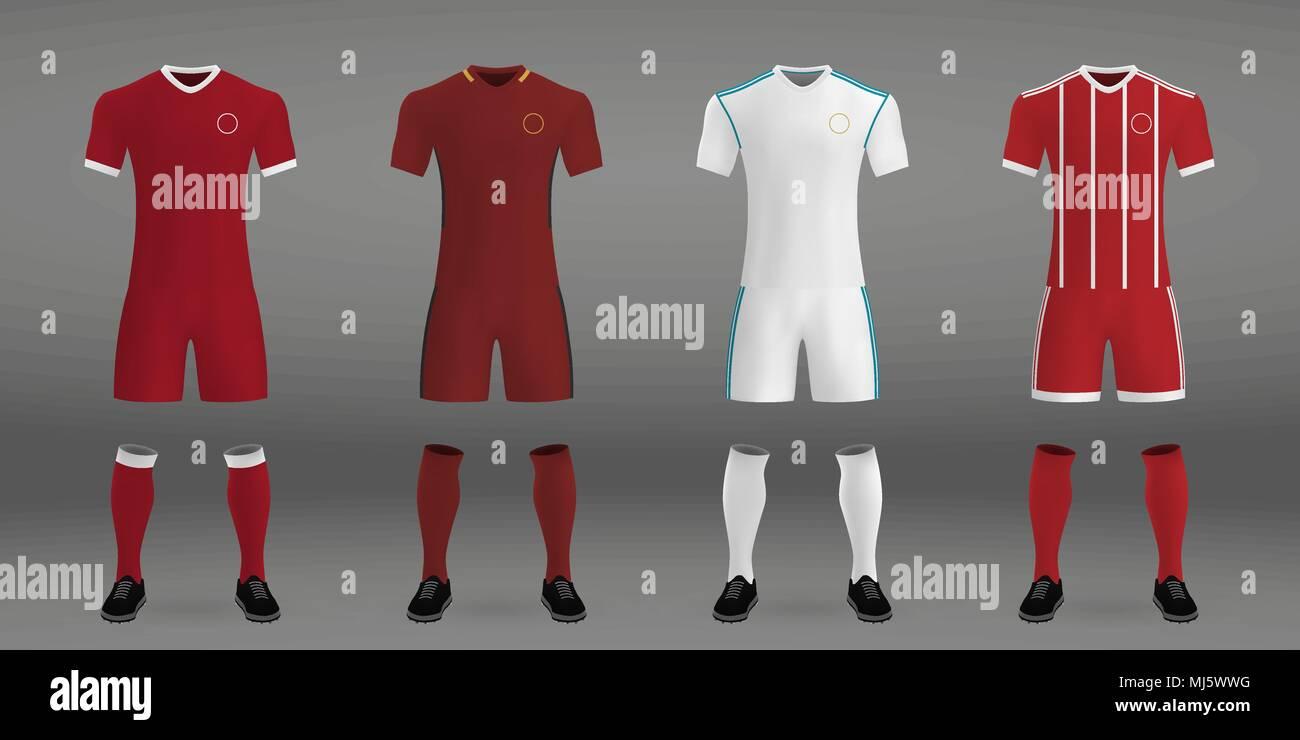 Set Of Football Kit T Shirt Template For Soccer Jersey Vector Illustration