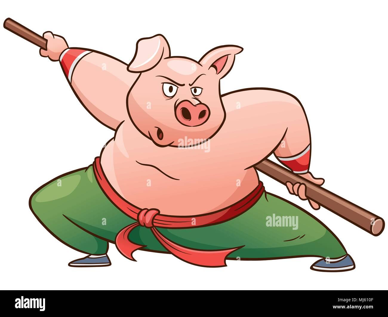 Vector illustration of Cartoon Kung fu pig Stock Vector Art ...