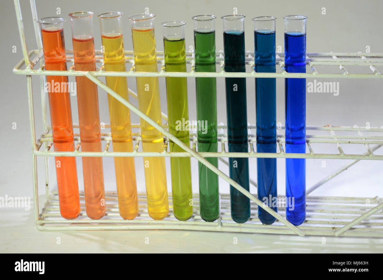Different States Of Bromothymol Blue From Left Red For Strong Acid Via Weaker Acids To Green Neutral Then Nuances