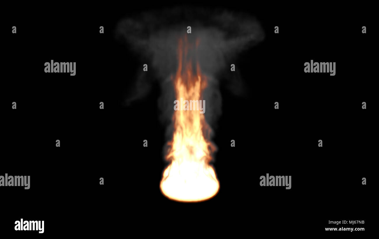 Big Fire Flame with Dark Smoke on a Black Background - Stock Image