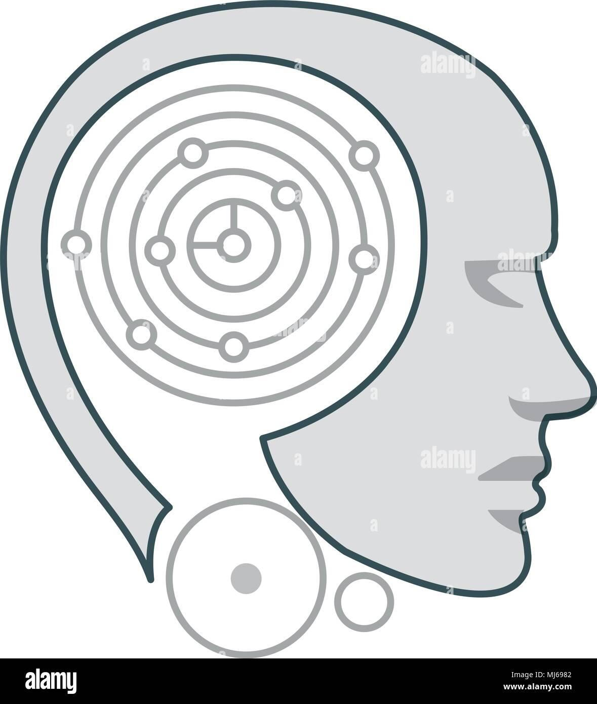 robot humanoid profile icon - Stock Image