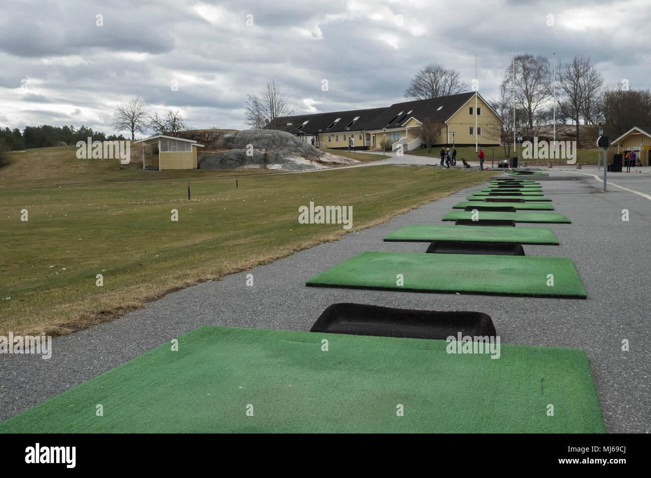 Driving range at Sollentuna Golf Club, Sollentuna, Sweden. - Stock Image