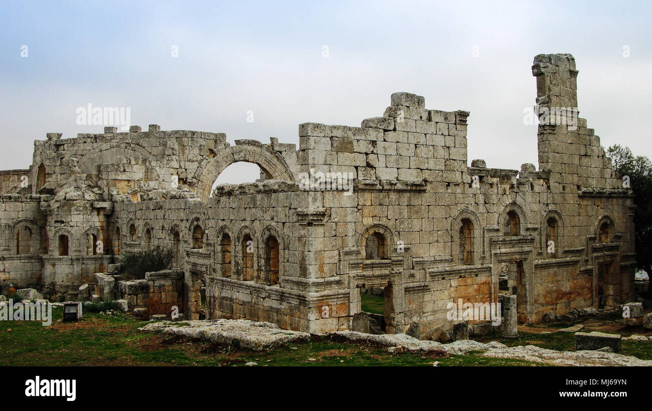 Ruins of the Church of Saint Simeon Stylites, Idlib, Syria - Stock Image