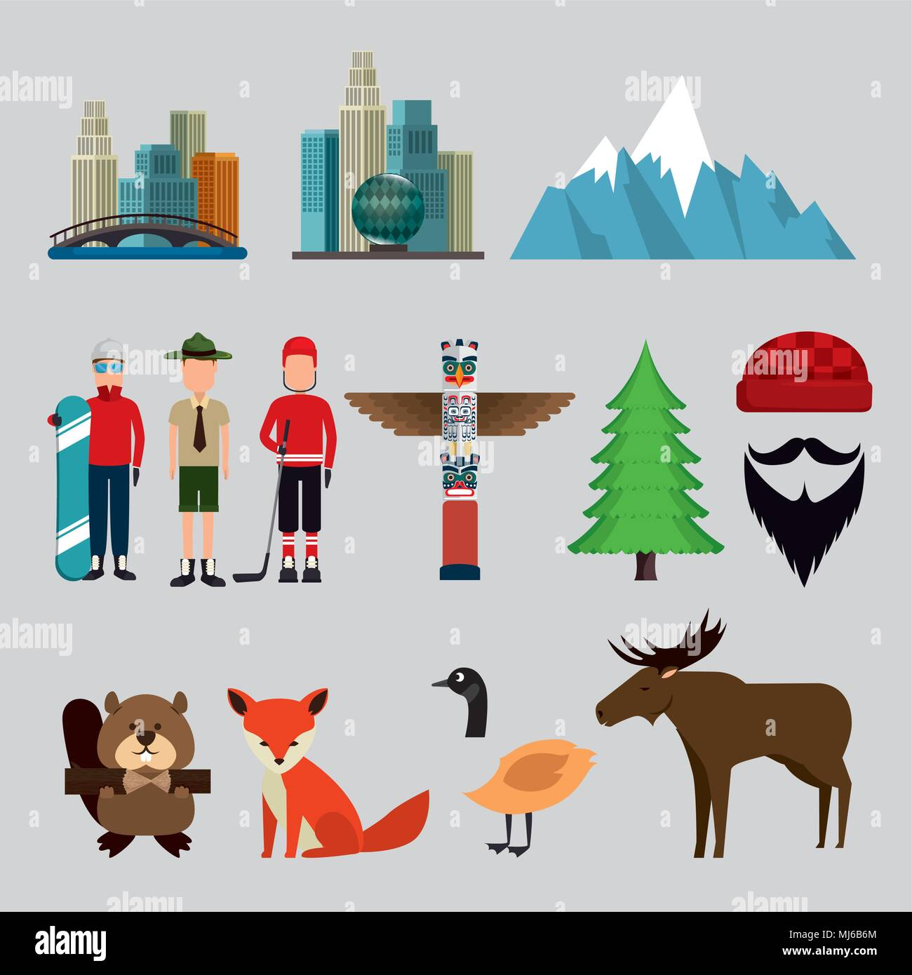 Canadian Culture Set Icons Stock Vector Art Illustration