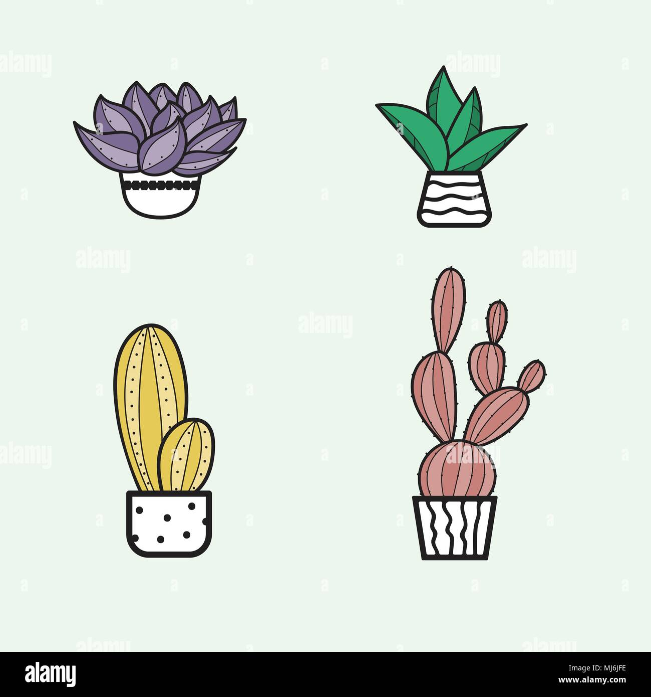 Cute Hand Hand Draw Cactus And Succulent Doodle Set Stock Vector Image Art Alamy