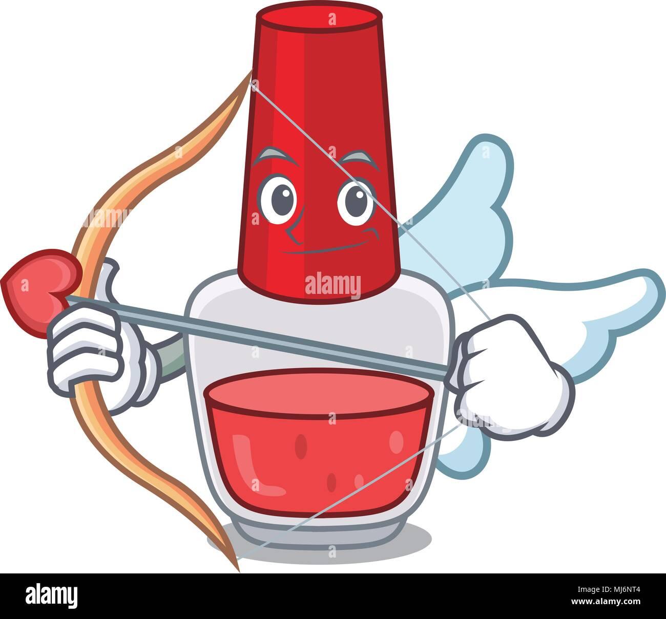 Cupid Nail Polish Character Cartoon Vector Illustration Stock Vector