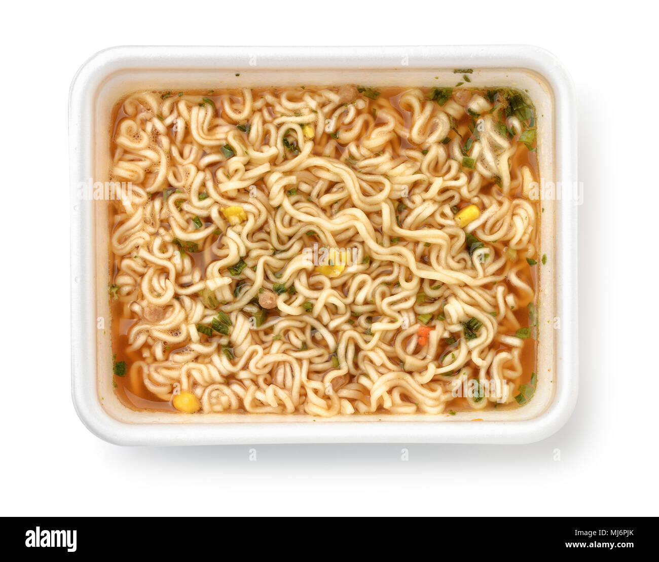 Top view of foam container full of instant noodles isolated on white - Stock Image