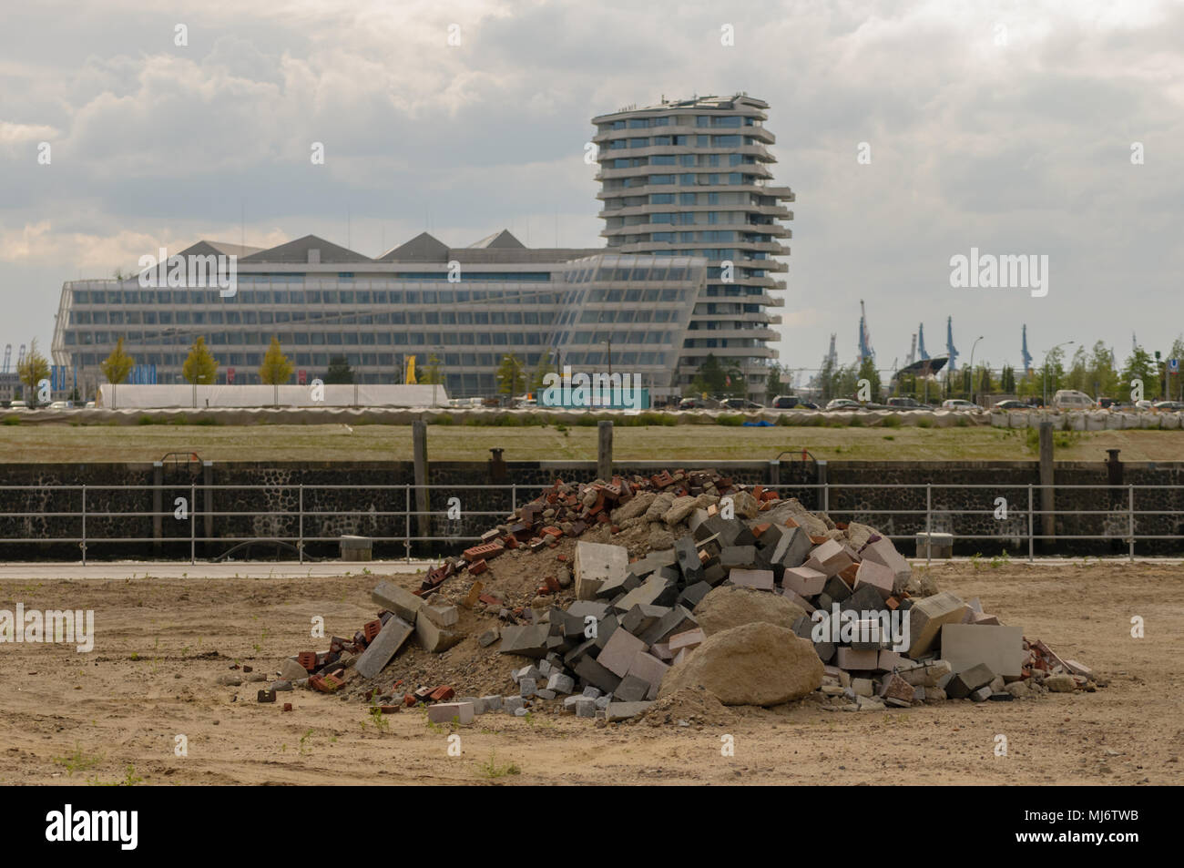Hamburg, Germany - April 11, 2015: Hafencity is a vivid mix between construction site and fast growing city quarter, - Stock Image