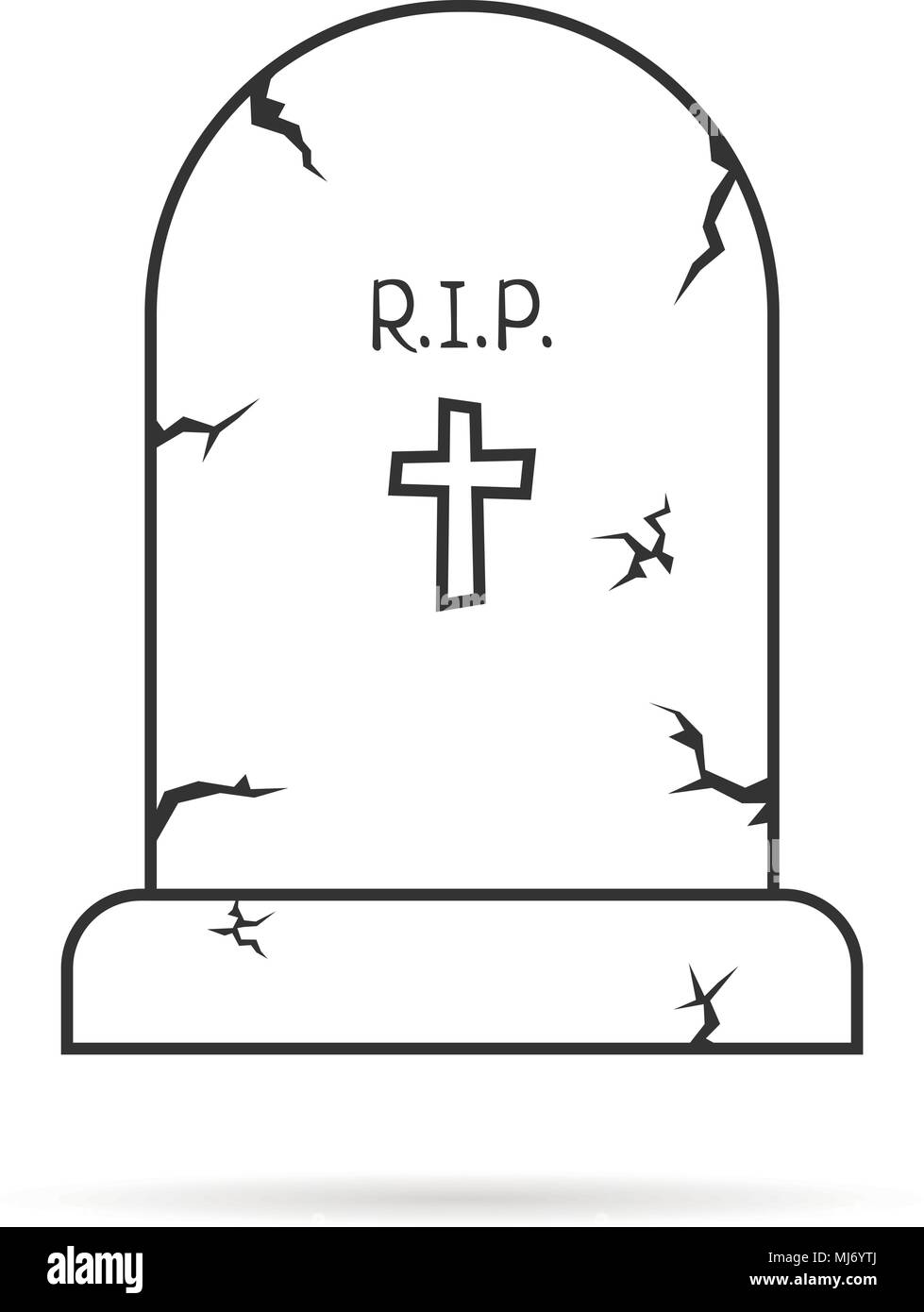 thin line simple tombstone - Stock Vector