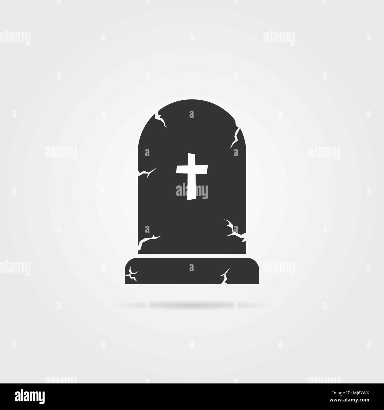black tombstone with shadow - Stock Vector