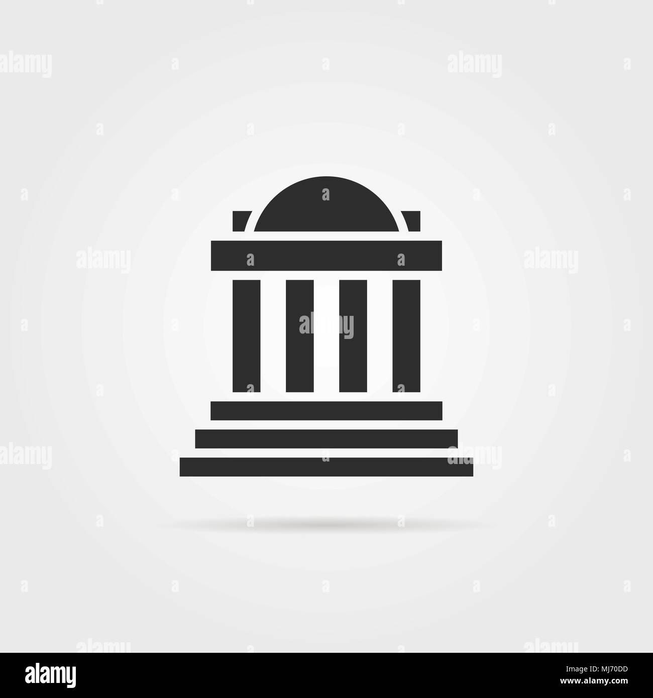 black greek colonnade building with shadow - Stock Vector