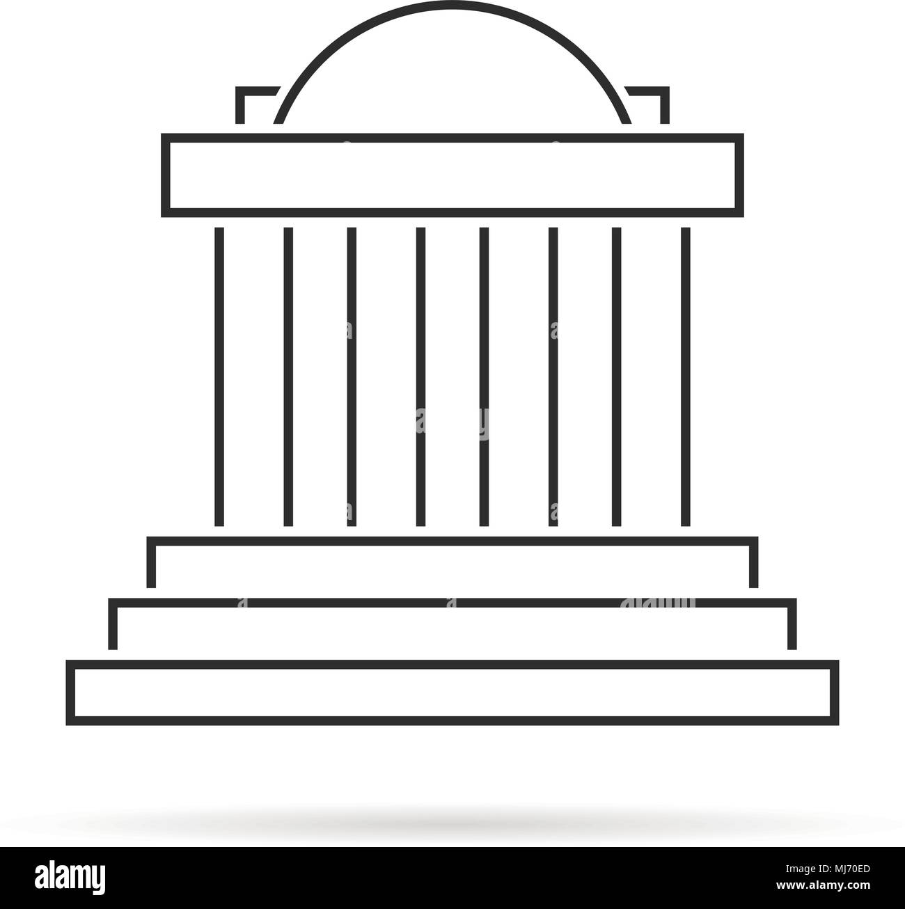 thin line greek colonnade with shadow - Stock Vector