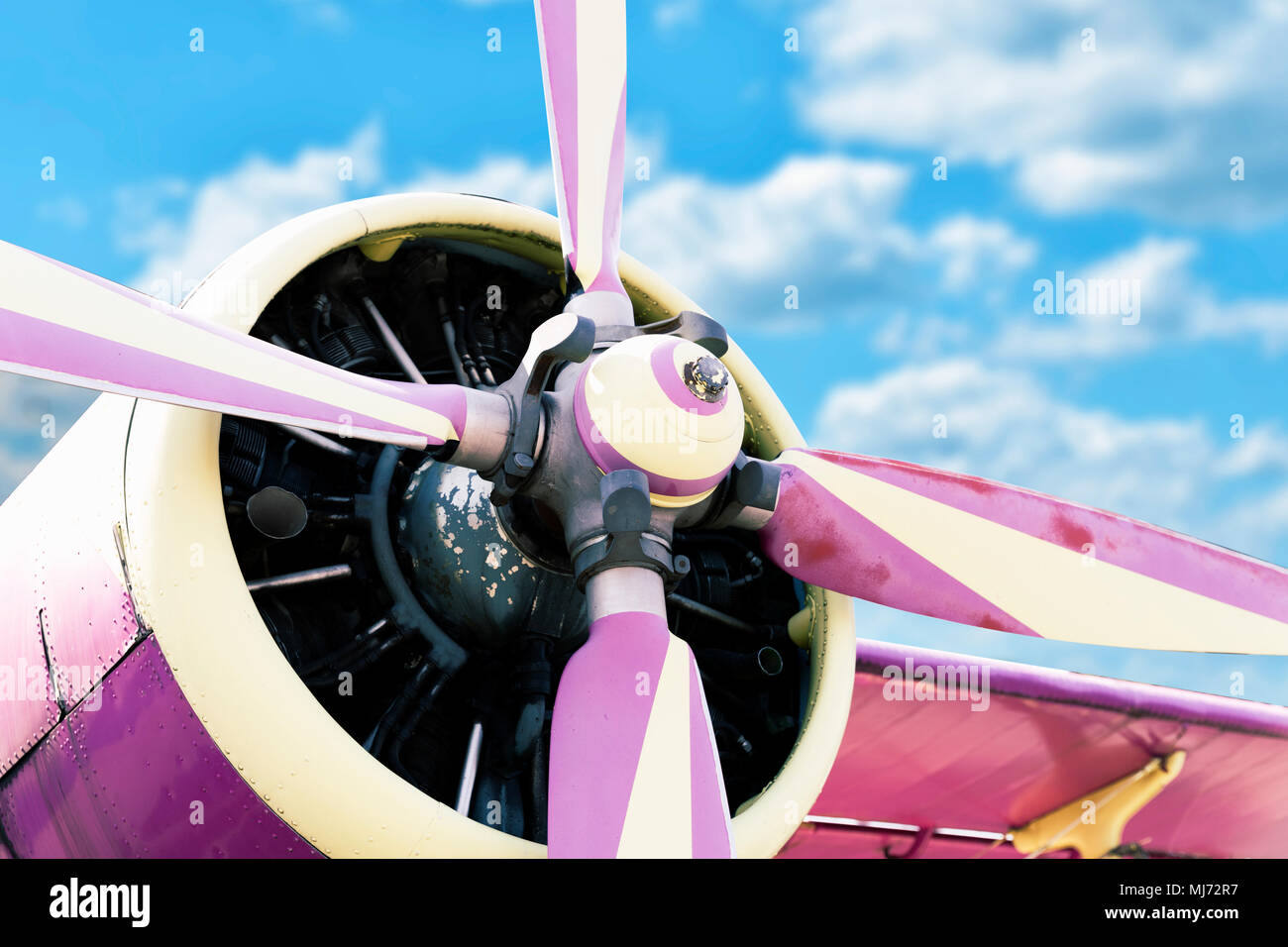 An old obsolete aircraft propeller on a bright day - Stock Image