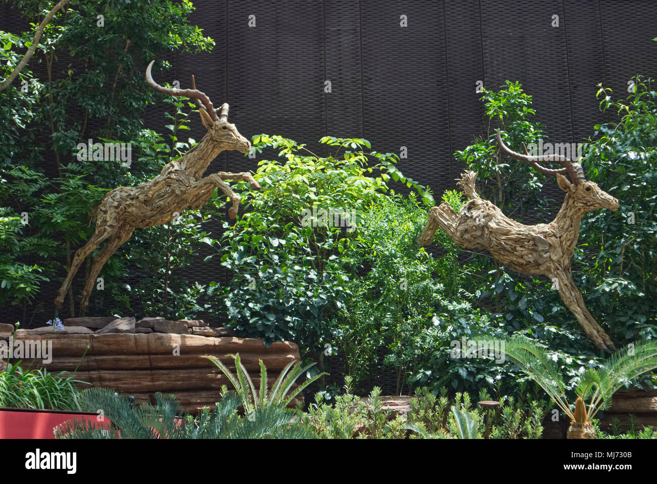 Singapore / Singapore - April 9 2018: A sculpture of two impalas jumping, located in the South African Garden of the Flower Dome in the Gardens by the - Stock Image