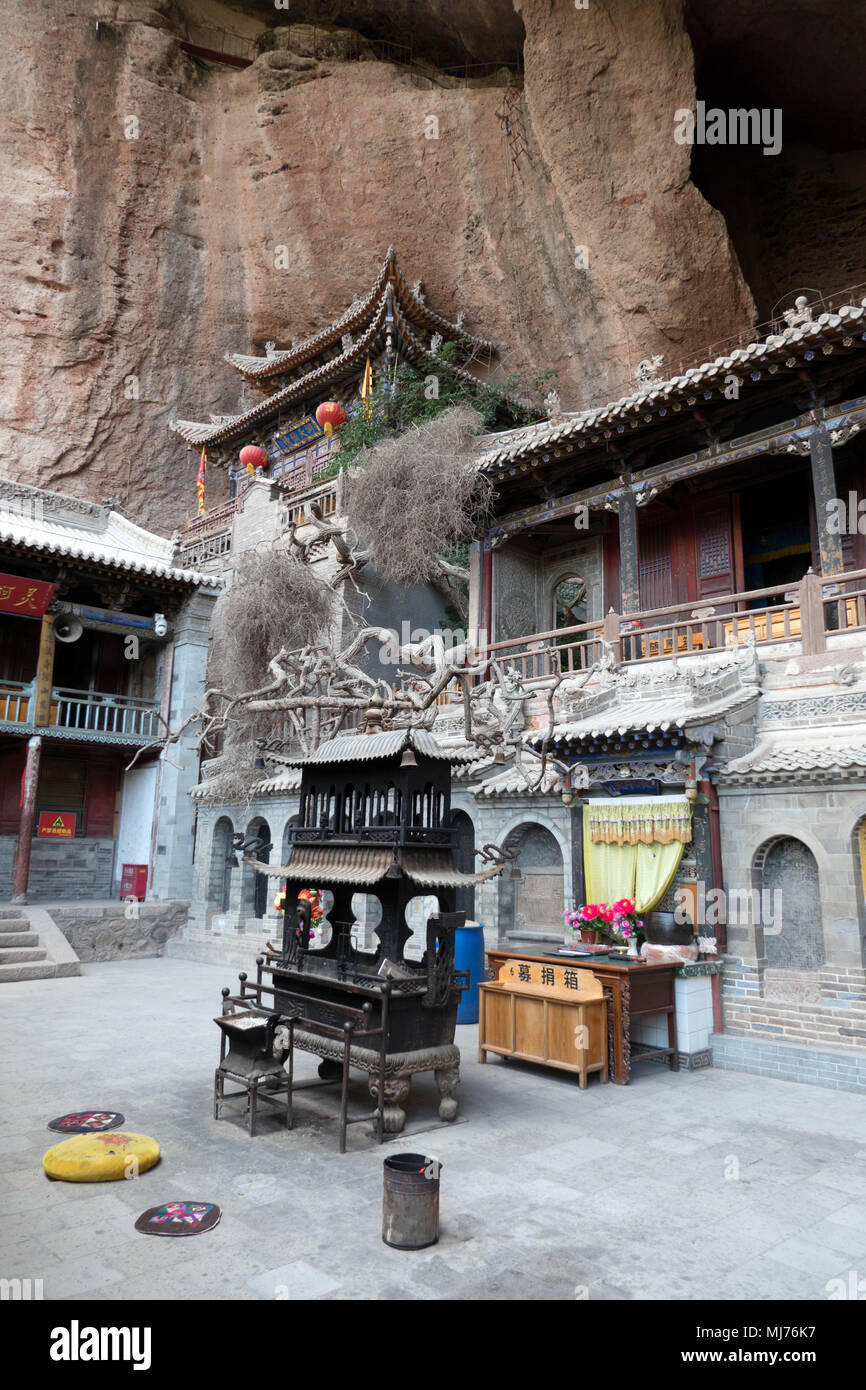 Temple at the Water Curtain Caves in Luomen, Gansu, China, Asia - Stock Image