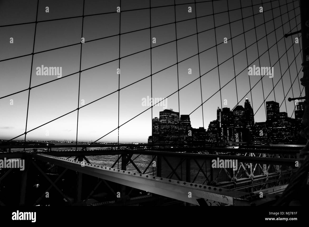 Financial district from Brooklyn bridge - Stock Image
