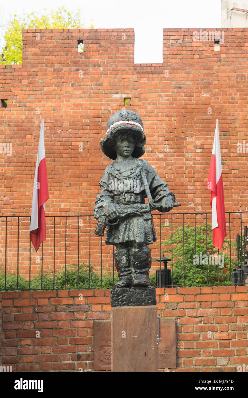 Warsaw, Poland - May 03, 2108: Monument of the Little Insurgent commemorating child soldiers who took part in the Warsaw Uprising 1944 Stock Photo