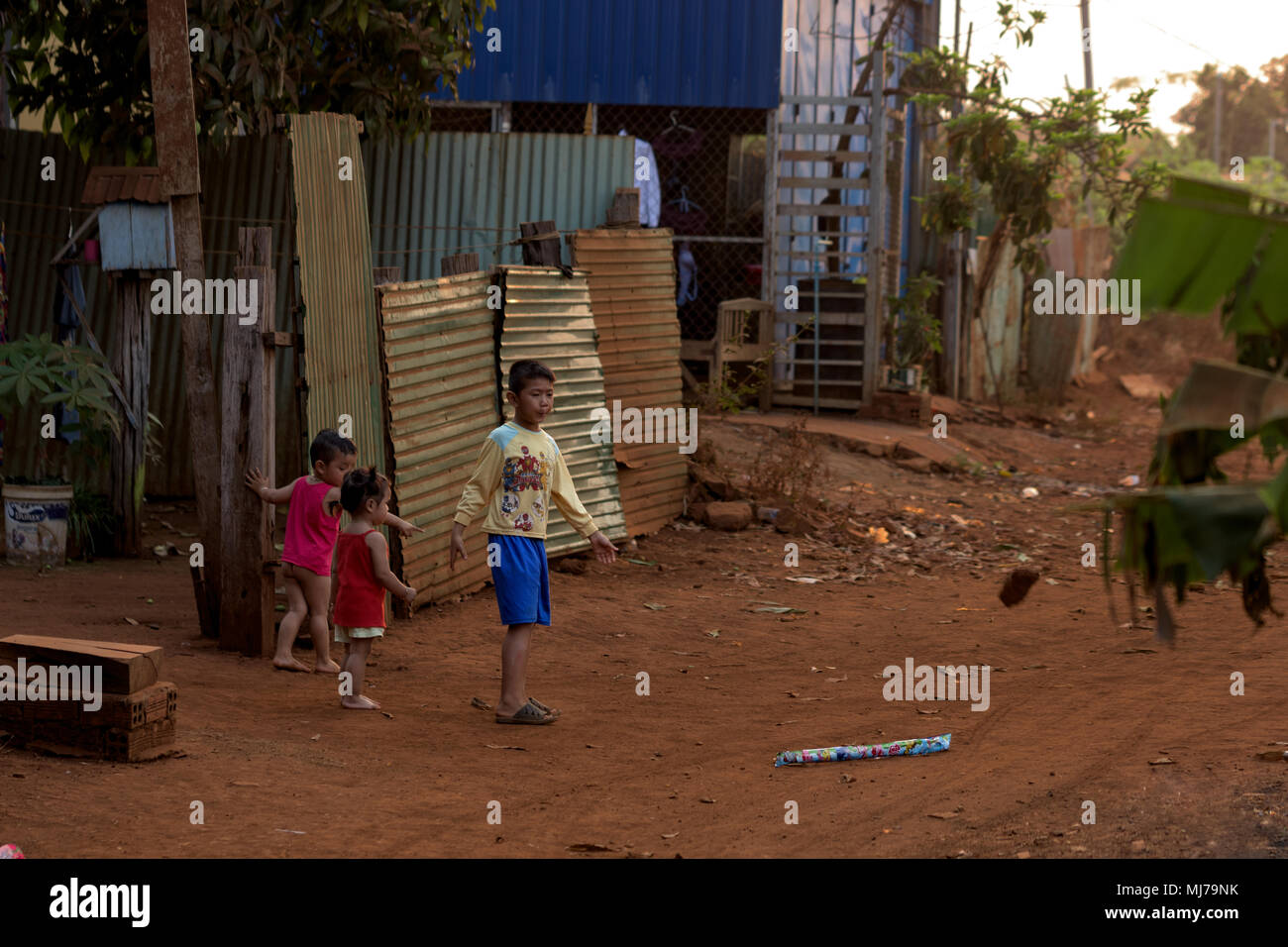 Cambodian small kids playing on the street In Banlung Province, Cambodia 02 march 2018. - Stock Image