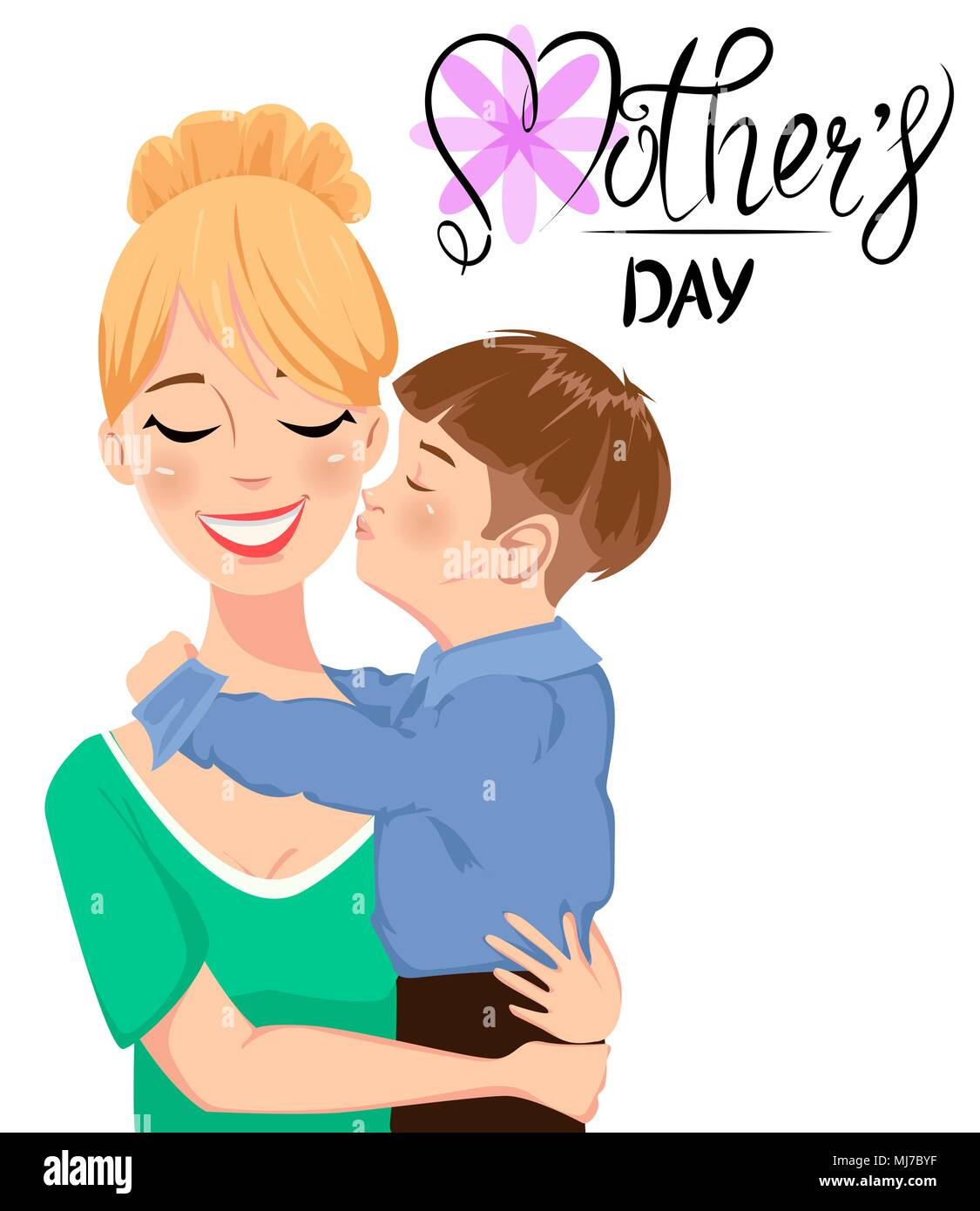 Mothers day greeting card child hugging and kissing his beautiful mothers day greeting card child hugging and kissing his beautiful mom cute cartoon characters and handwritten lettering vector illustration on whi m4hsunfo