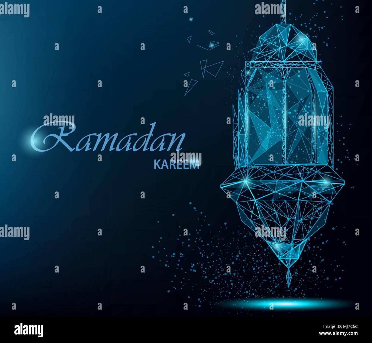Ramadan kareem bright greeting card with traditional arabic lantern ramadan kareem bright greeting card with traditional arabic lantern polygonal art on blue background usable for eid mubarak stock vector illustrati m4hsunfo