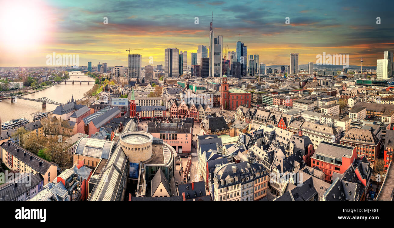High resolution panorama of Frankfurt am Main, Skyline with financial district. Germany - Stock Image