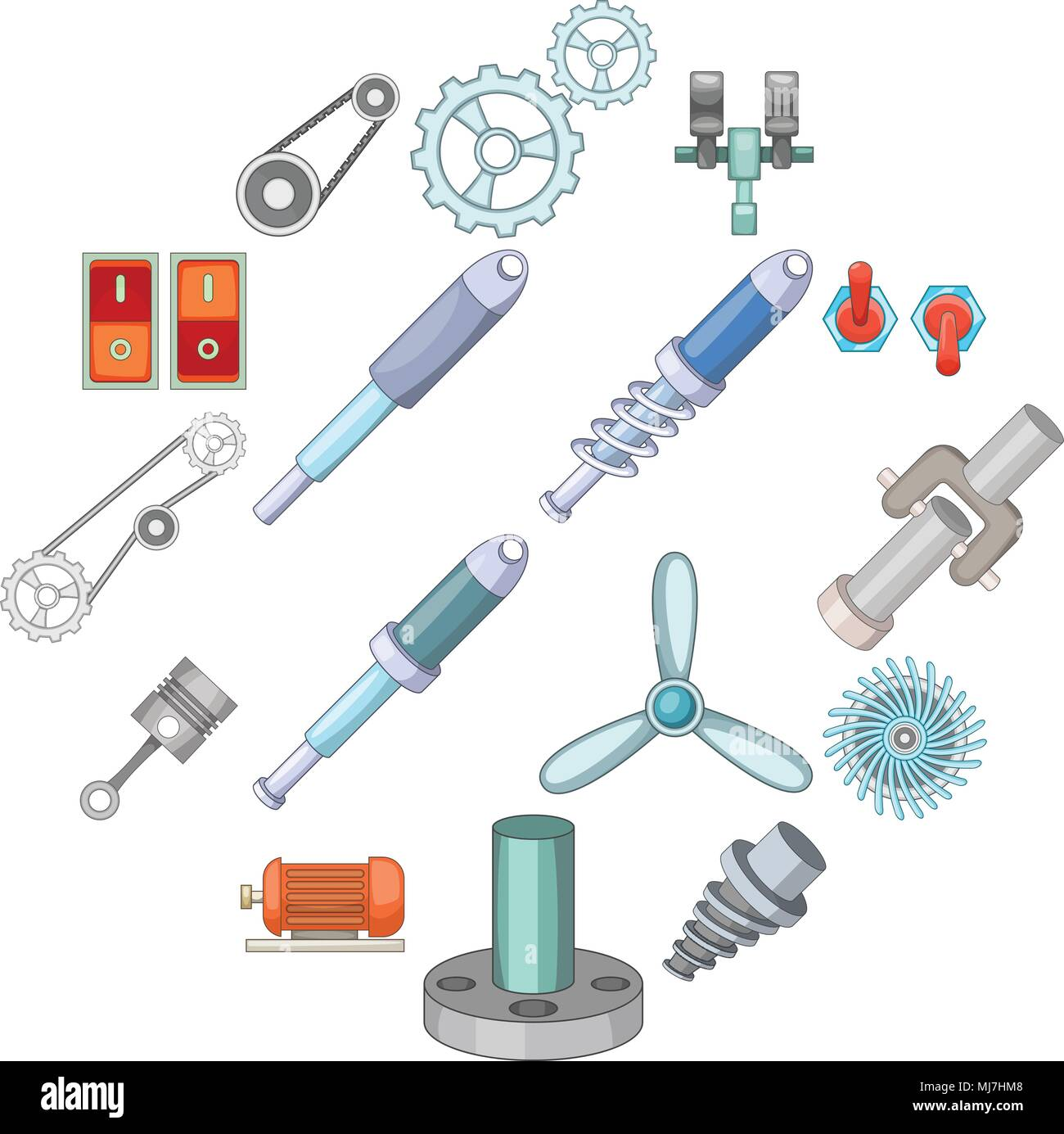 Mechanism parts icons set, cartoon style Stock Vector