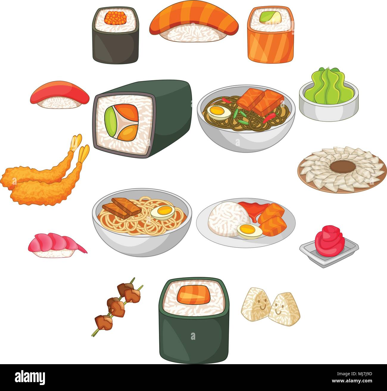 Japanese food icons set, cartoon style - Stock Vector
