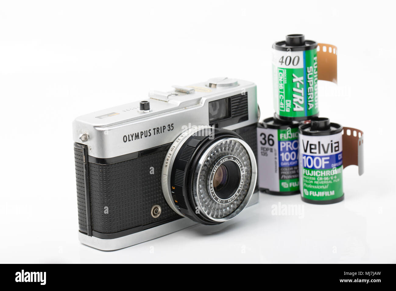 A working Olympus Trip 35 film camera bought for £1 from jumble sale in Dorset England UK. Production of the camera ran from 1967-1984 and it was fitt - Stock Image