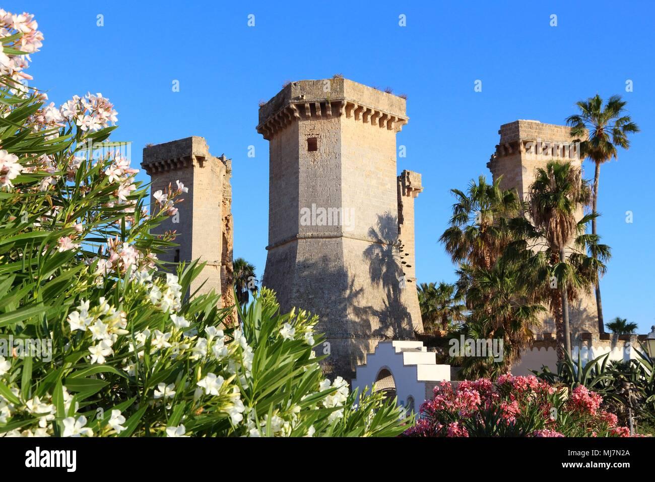 Apulia landmark - Quattro Colonne ruined towers in Santa Maria Al ...