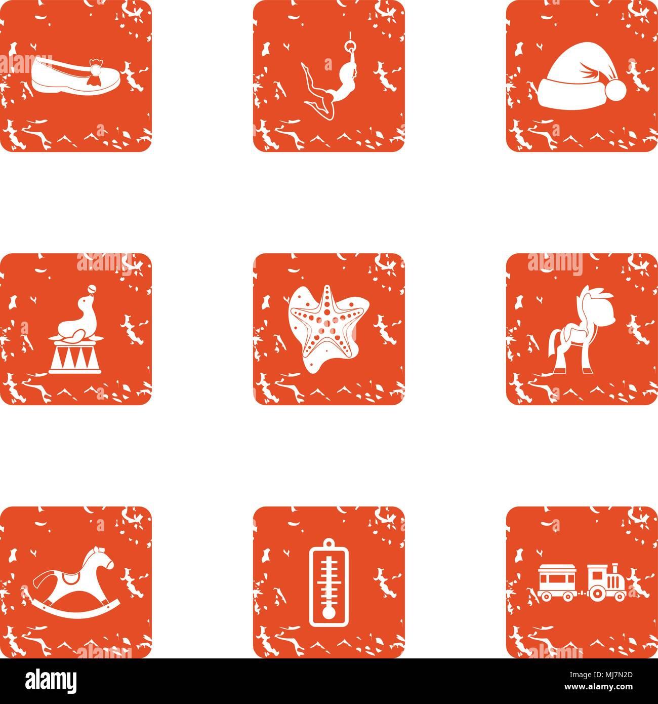 Christmastime icons set, grunge style - Stock Image