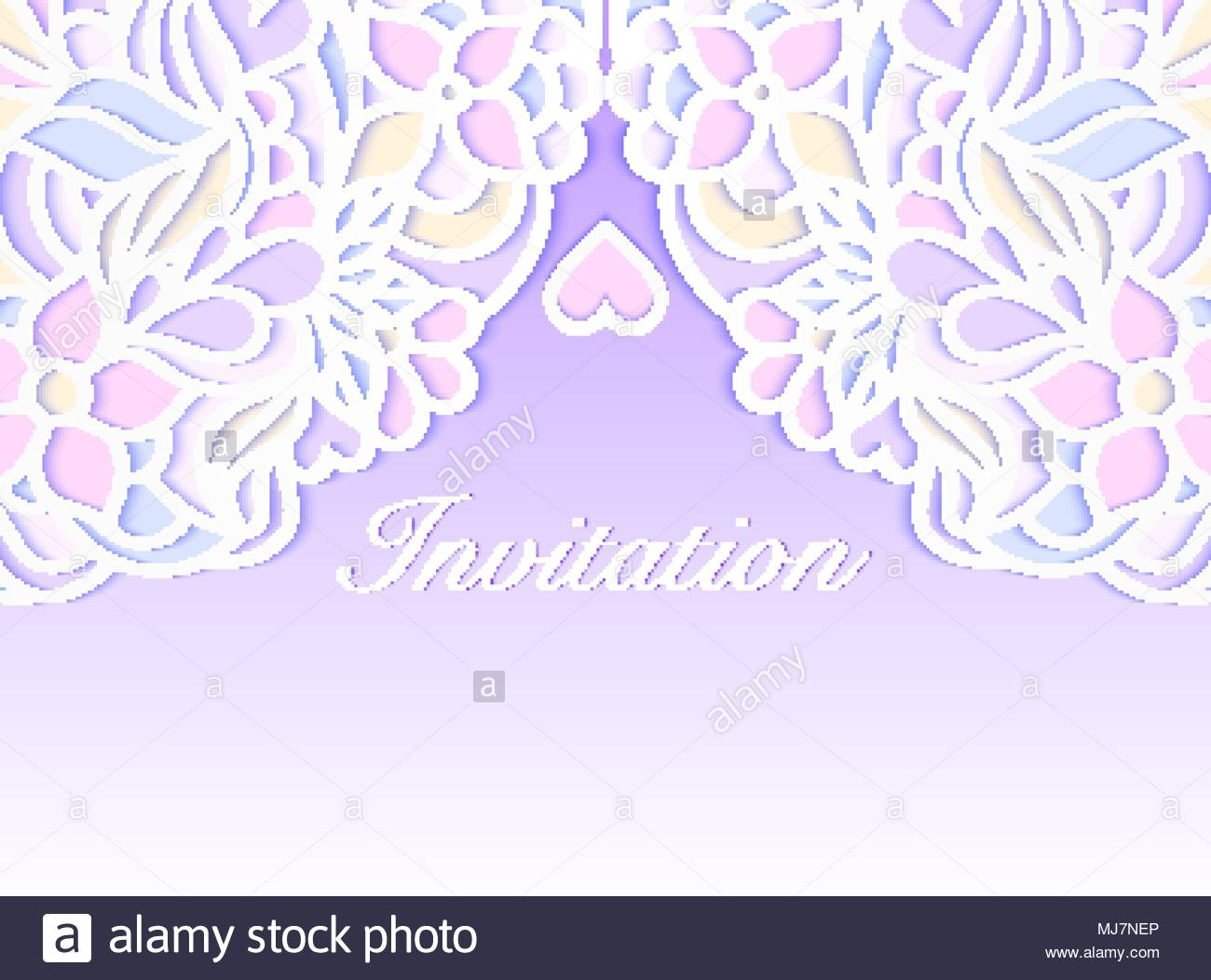 Colorful wedding invitation on lilac background. Vector illustration ...