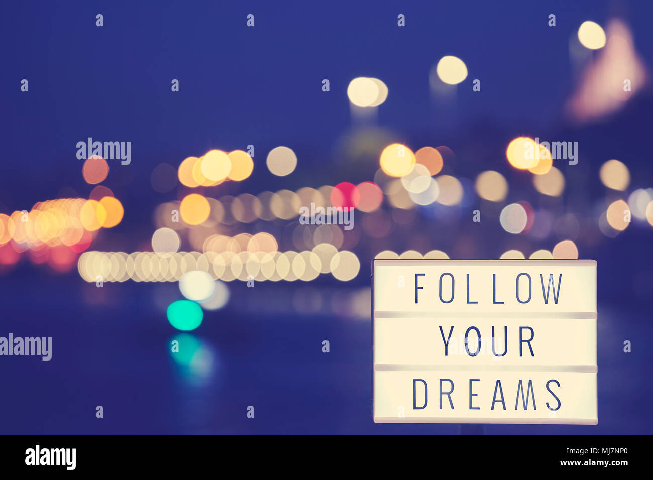 Follow Your Dreams Inspirational Life Quote Text In Lightbox City