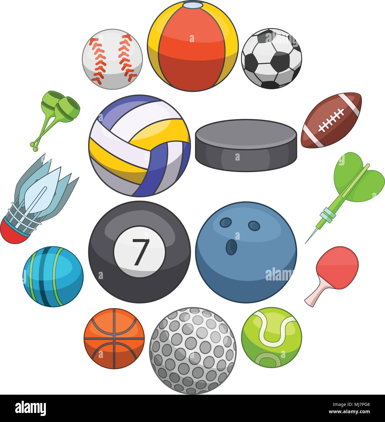 Sport Balls Icons Set Cartoon Style Stock Vector Image Art Alamy