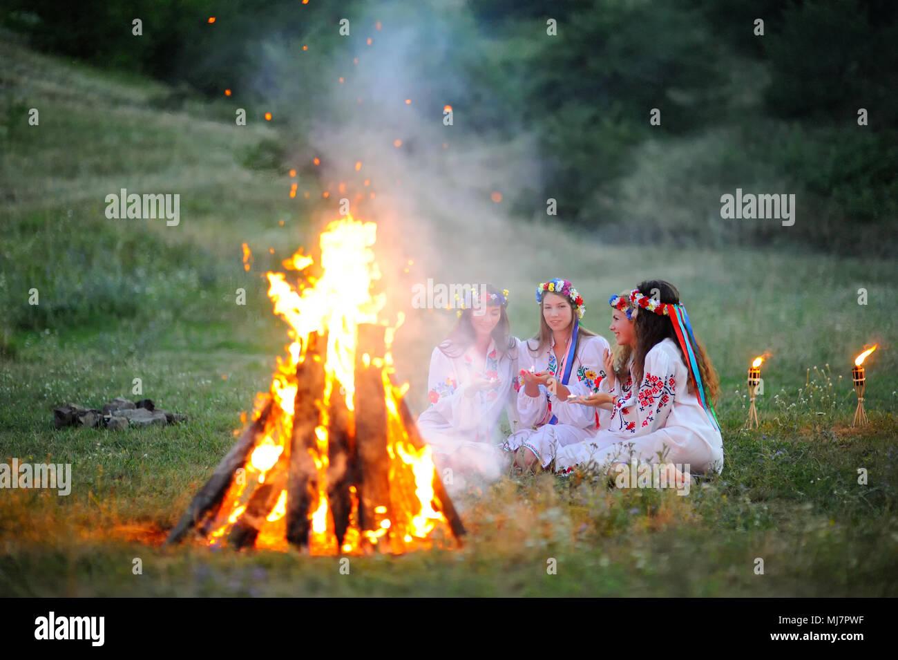 The celebration of the pagan Slavic holiday of Ivan Kupala Day or Midsummer. - Stock Image