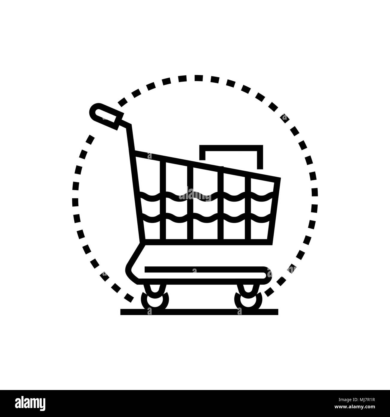 Shopping trolley - line design single isolated icon - Stock Image