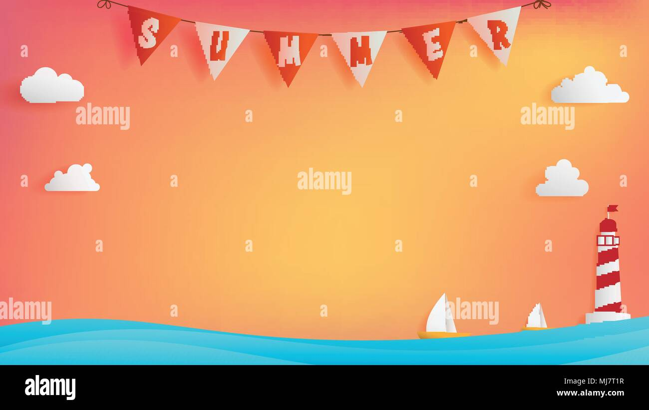 Summer background conception consist of text bunting on top , calm ocean with two boats are on the right beside light house, free space on middle - Stock Vector