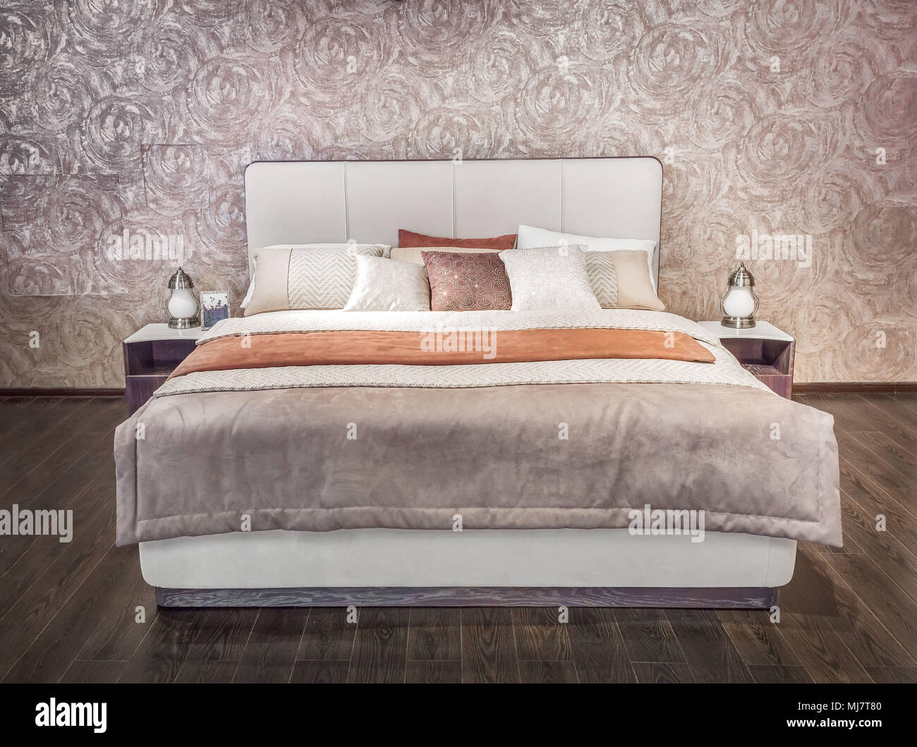 . Luxury gray beige modern bed furniture with patterned bed with