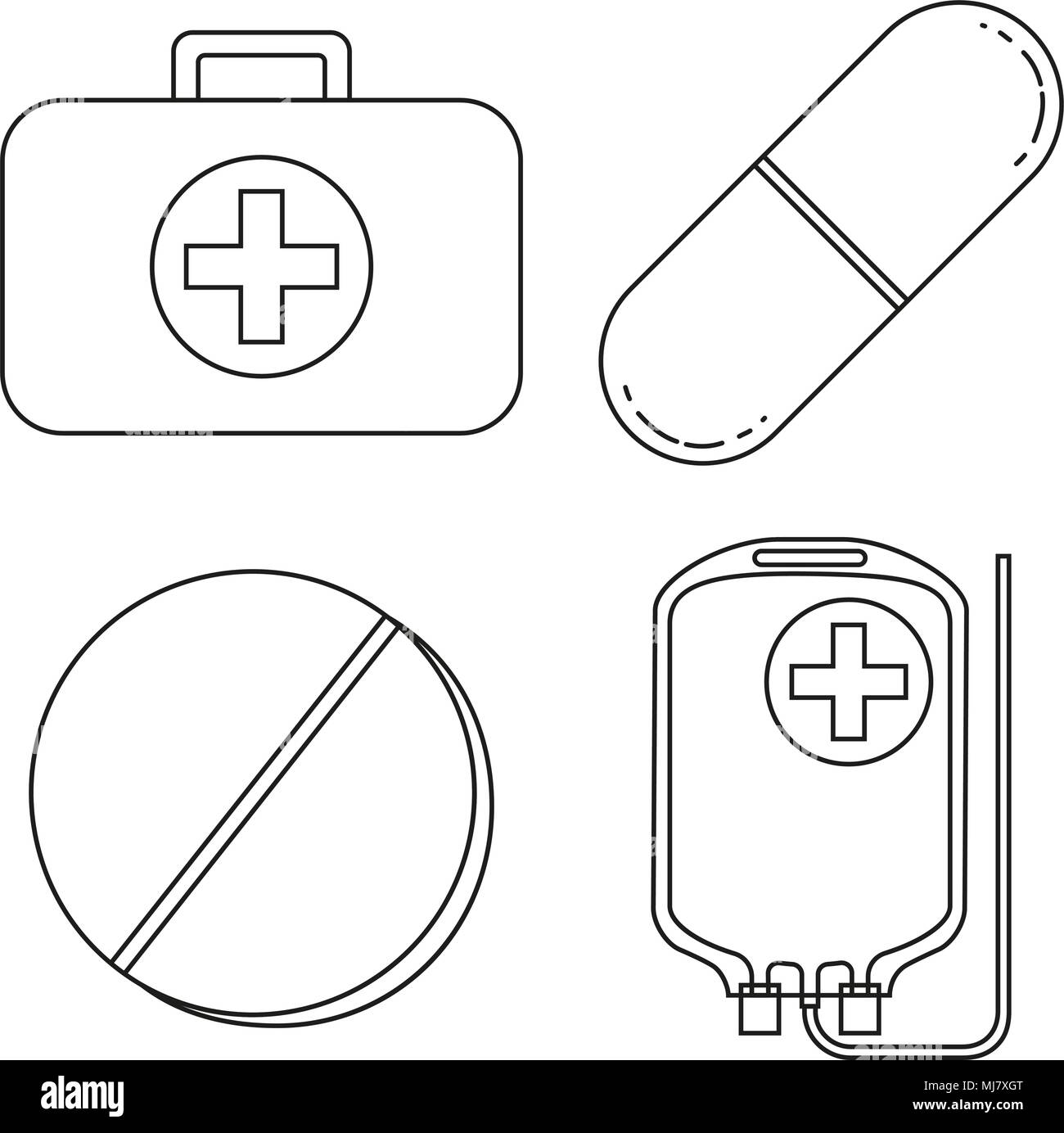 Line art black and white first aid kit content set. Pills drugs and IV bag. Healthcare themed vector illustration for icon, sticker, sign, patch, cert - Stock Vector