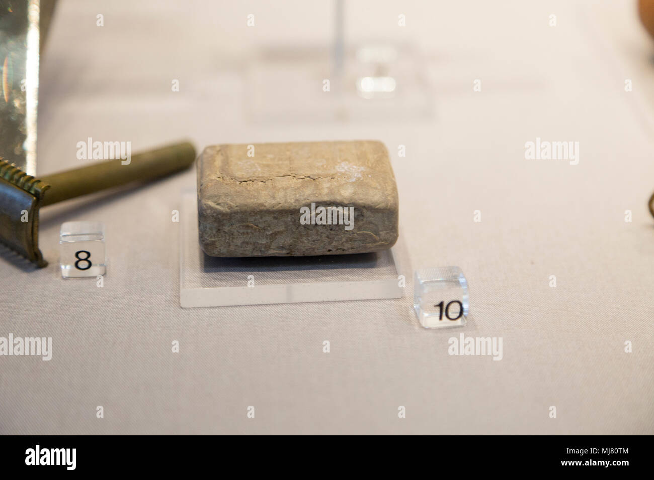 A bar of soap made from human fat at Torgau concentration camp, REME museum, MOD Lyneham, Wiltshire, England, UK Stock Photo