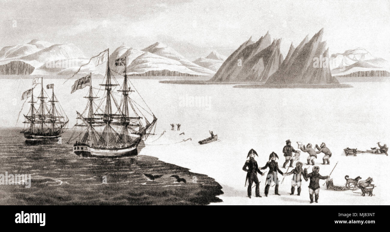 First communication with the natives of Prince Regent's Bay. John Ross explored Prince Regent's Bay in north-west Greenland during his 1818 expedition.  Here, Ross and William Parry can be seen exchanging knives and mirrors with the Innuits.  Admiral Sir John Ross , 1777 – 1856.  British naval officer and Arctic explorer.  From British Polar Explorers, published 1943. Stock Photo