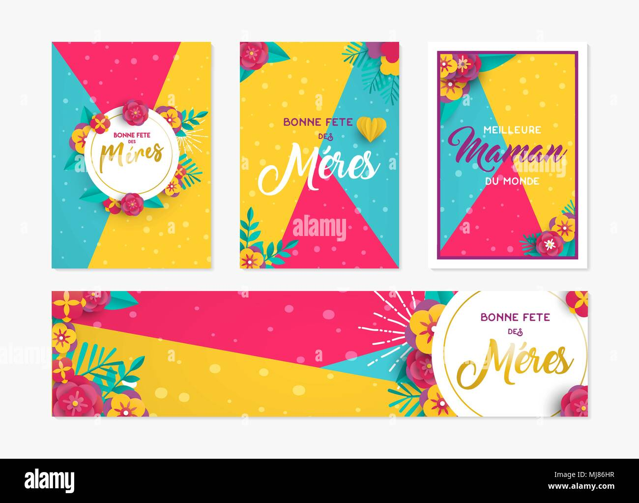 happy mothers day greeting card and label set template in french