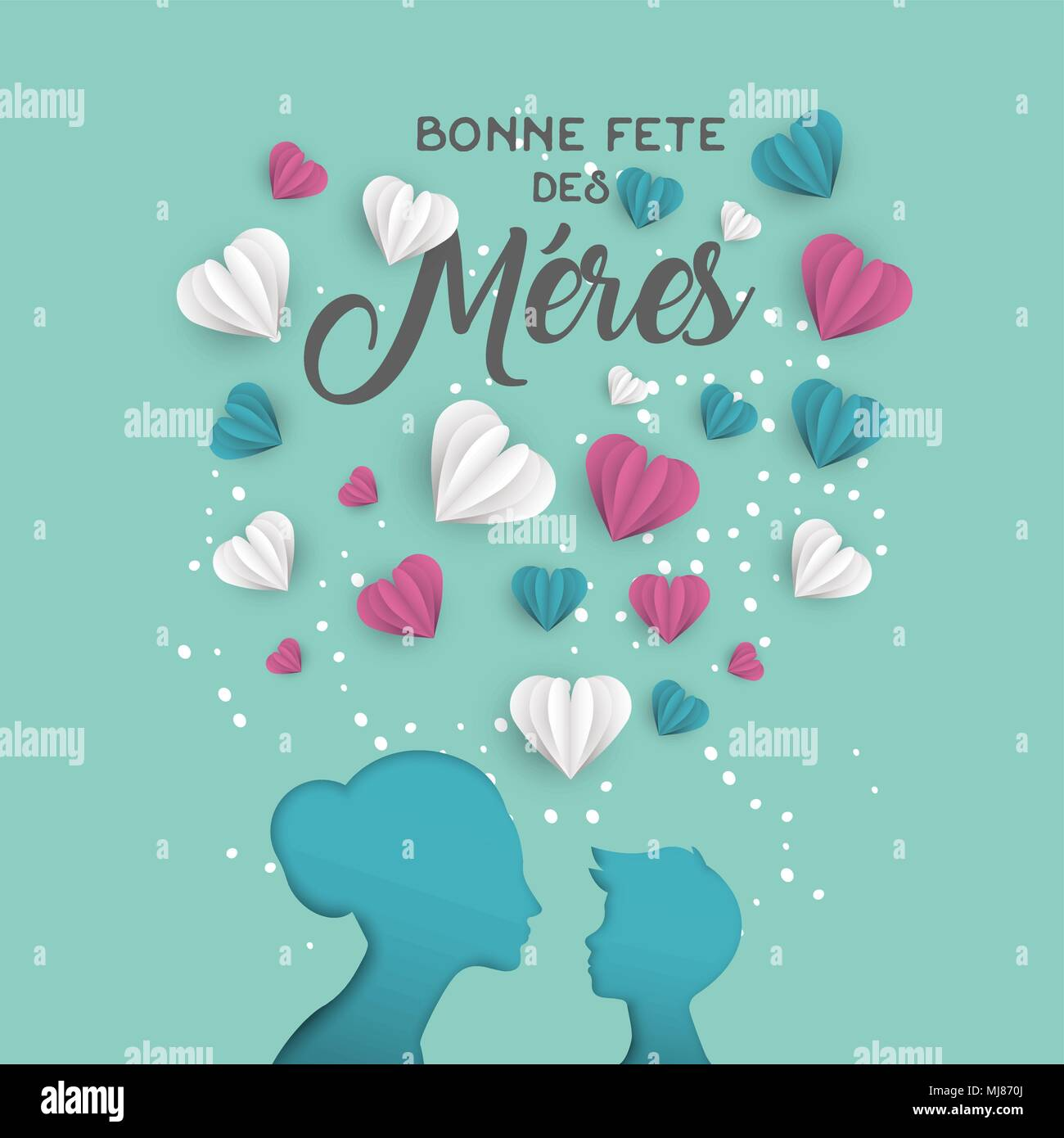 Happy mothers day holiday greeting card illustration in french happy mothers day holiday greeting card illustration in french language pink paper cut mom and little boy silhouette cutout with 3d heart shape paper m4hsunfo