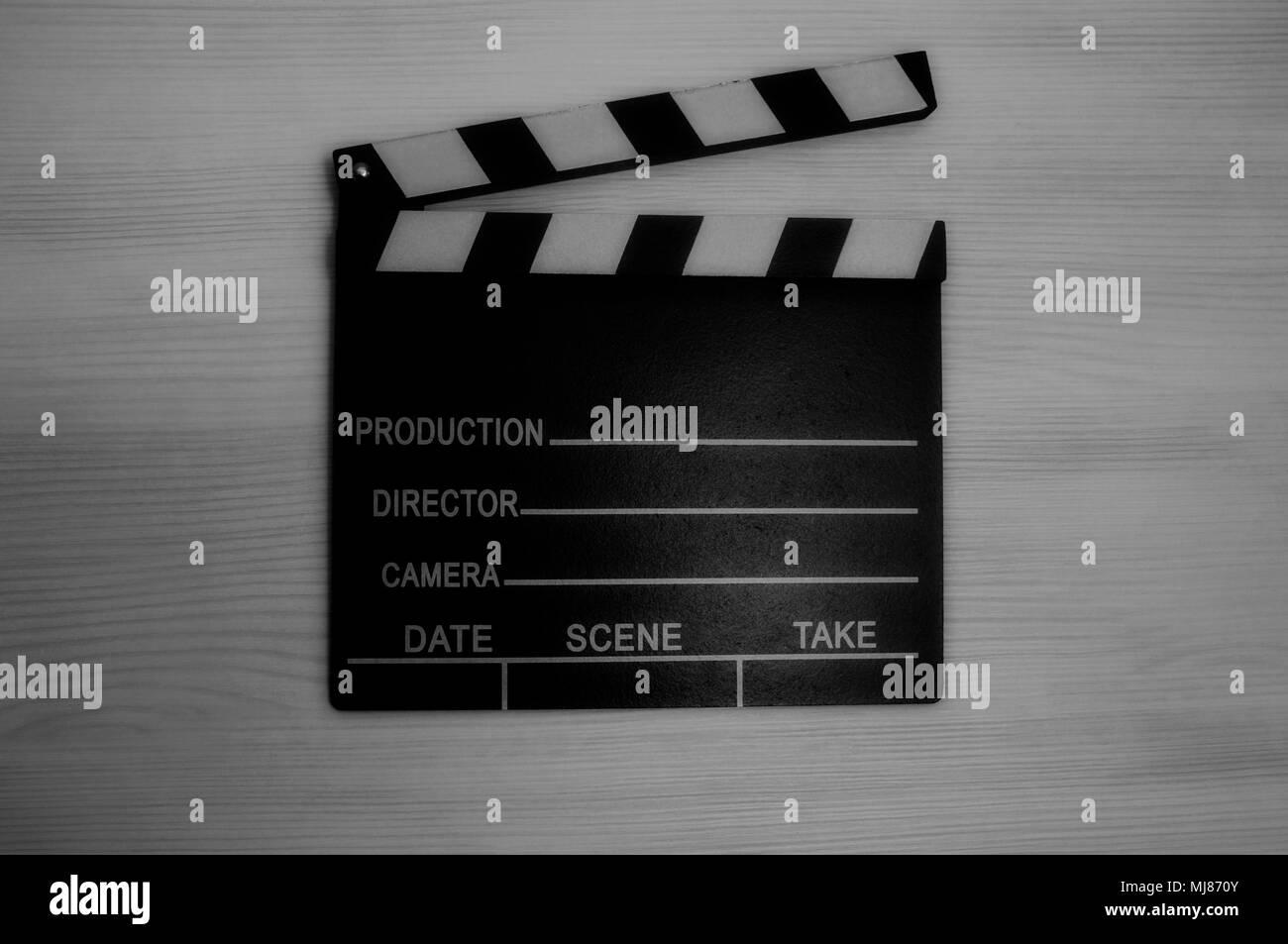 Production clapboard black and white photo - Stock Image