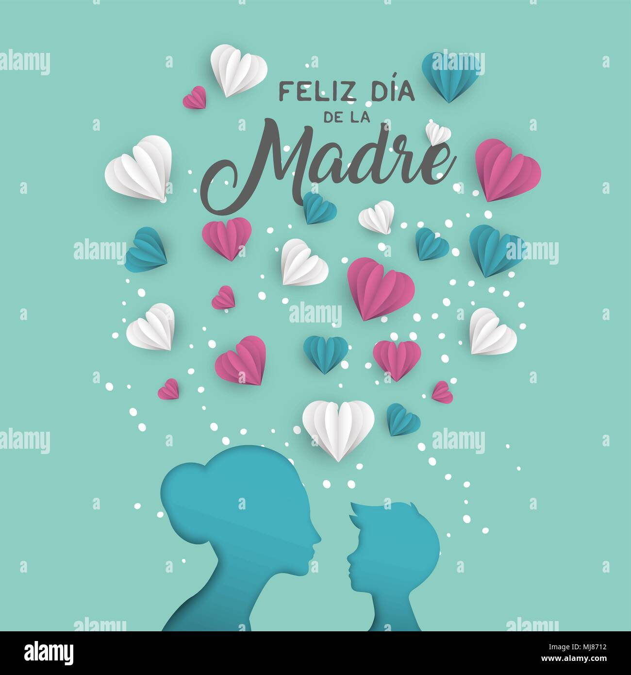 Happy Mothers Day Holiday Greeting Card Illustration In Spanish
